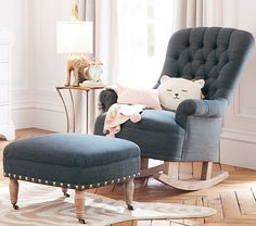 With a shape inspired by Edwardian armchairs of the 1900s, our rocker boasts curves and tufts that comfortably fit the body. Imagined with fashion designers Emily Current and Meritt Elliott, this chair and ottoman capture their vintage-meets-whimsy aesthetic.