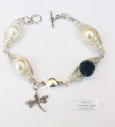 """Bransoletka wire wrapping """"Lot Ważki"""" Wire Wrapping, Wraps, Bracelets, Jewelry, Jewlery, Jewerly, Schmuck, Jewels, Jewelery"""