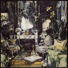 Hicks and Goodman - Who could ask for anything more? REGRAM: @jeremiah_goodman A Piece From My Pop Up Exhibition @designcentrech A Country Interior By #DavidHicks. David Always Got It Spot On And Created A New Concept Of English Style Through His Bold Use Of Colours, And The Way He Mixed Antique And Modern Furnishings. This Painting Was A Reworking Of An Earlier Monochrome Sketch. #design #artistry #beauty