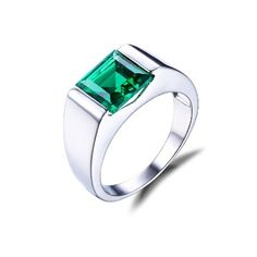 JewelryPalace Fashion Nano Russian Green Emerald Ring For Men Solid 925 Sterling Sliver Jewelry Engagement Wedding Ring For Men Mens Emerald Rings, Emerald Wedding Rings, Green Emerald Ring, Engagement Ring Settings, Engagement Rings, Wedding Engagement, Wedding Bands, Mens Ring Designs, Size 10 Rings