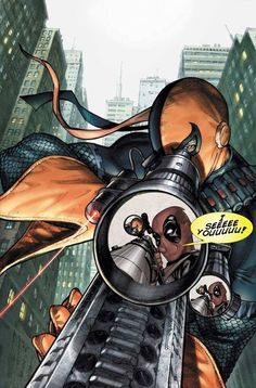 Deathstroke vs Deadpool - original cover by Fabrizio Fiorentino * Oh gawd. 2 of my fav villains. Show down!