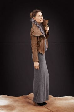 Grey Jersey Maxi and Brown Leather Jacket