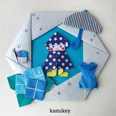 カミキィ 🇯🇵(kamikey)さんはInstagramを利用しています:「今年は梅雨モチーフの折り紙がいっぱいできた。。ってこの「レインコートちゃん」も「赤ずきんちゃん」のリメイクですけどね😅長ぐつを履かせたら雨合羽ちゃんに変身しました! ✳︎ レインコートちゃん 7.5㎝×7.5㎝ 六角リース 15㎝×15㎝ かさ…」