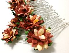 Autumn Shades Flower Hair Combs Set of two by SpearmintAndThyme, £21.00