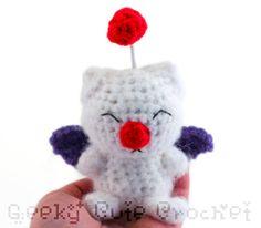 Stuffed Animal from final fantasy  | Moogle Final Fantasy Amigurumi Crocheted Plush by GeekyCuteCrochet