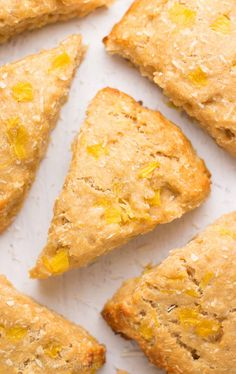 } Pineapple Coconut Scones -- a 1 bowl, 30 minute recipe! So easy & the.} Pineapple Coconut Scones -- a 1 bowl, 30 minute recipe! So easy & they taste AMAZING! Just like paradise! Pineapple Recipes Healthy, Pineapple Dessert Recipes, Pineapple Coconut, Pineapple Muffins, Baked Pineapple, Healthy Sweets, Healthy Dessert Recipes, Healthy Baking, Healthy Recipes