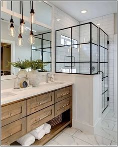 Beautiful master bathroom decor tips. Modern Farmhouse, Rustic Modern, Classic, light and airy bathroom design tips. Bathroom makeover suggestions and master bathroom renovation tips. House Design, House, Bathroom Interior Design, Bathroom Renos, Bathroom Remodel Master, Lily Ann Cabinets, Modern Bathroom, Modern Farmhouse Bathroom, Farmhouse Bathroom Decor