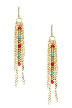 Multi-Chains Yellow Red & Blue Resin Dangling Earrings by Non Specific on @HauteLook