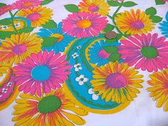 Vintage Fabric  Mod  Hot Pink & Turquoise Paisley and