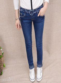 #Jeans #Jeans #Dark Classy Polished Slim High Quality Dark Blue Skinny Jeans