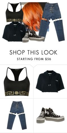 """she wolf"" by valley-of-the-teenage-dolls ❤ liked on Polyvore featuring Versace, Off-White and Converse"