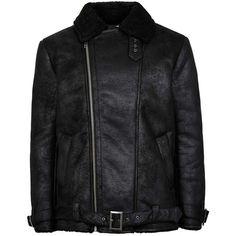 TOPMAN Black Faux Shearling Lined Biker Jacket (€105) ❤ liked on Polyvore featuring men's fashion, men's clothing, men's outerwear, men's jackets, black and mens biker jacket