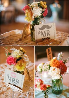 wedding center pieces name tags... LOVE THIS  especially the mustache :))