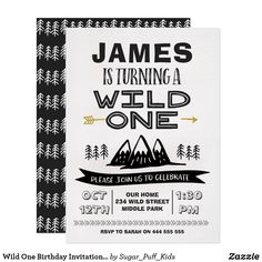 Wild One Birthday Invitation Boy Are you looking for a bold wild one birthday invitation? This first birthday invitation is a cute way to invite your little one's guests. This bold mainly black and white wild one birthday invitation features some mountains, trees and a faux gold arrow. The design also includes a banner and some hand written style fonts. Same design invitation with a photo and thank you card is also available at the store. This boy's wild one birthday invitation is ready to…