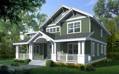 Craftsman Style Home. I love this color green with grey shingles and white trim, with the nice big porch. First Home.