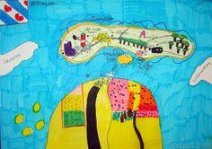 Tekenen en zo: Verslag van de vakantieAan het begin van het schooljaar maken de kinderen vaak een getekend verslag van hun zomervakantie. Waar ben je geweest? Waar ligt dat gebied? Welke taal spreken ze daar? Welke munt wordt gebruikt? Wat heb je gedaan? Waar heb je gelogeerd? De opdracht luidt: maak een getekend vakantieverslag, en schrijf daar interessante informatie bij.