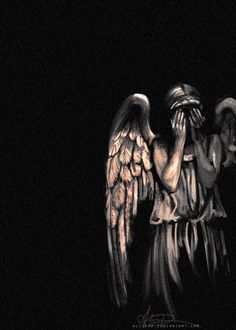 Doctor Who Weeping Angels Wallpaper Dr Who, Doctor Who Zeichnungen, Angel Wallpaper, Doctor Who Fan Art, Ange Demon, Don't Blink, Tardis, Science Fiction, Cool Art