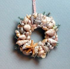dollhouses, beach house | ON SALE - DOLLHOUSE MINIATURE WREATH - Seaside Christmas - 1/12