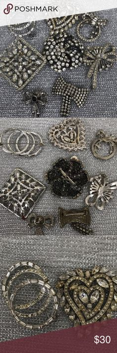 8 Vintage Art Deco Brooches AS-IS Condition 8 assorted vintage brooches Art Deco style. Most are missing stones. The are not signed, but make a nice statement piece. Wear alone or as a collection. They are part of a auction I won, I don't have much  Information, just that they were from back East.  Very much in style now, and trend. unknown Jewelry Brooches