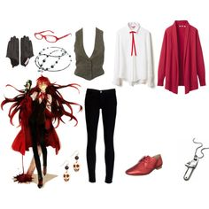 """Grell Sutcliff from Kuroshitsuji Casual Cosplay"" by cupcake-curiosities on Polyvore"