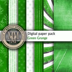 Digital Paper Green Grunge green and white. от WaywardMouse, $4.00