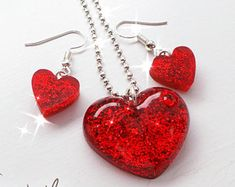 Valentine's day jewellery, red heart matching set, matching necklace and earrings, resin jewellery, womens jewellery