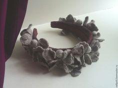 Купить Элегия - серый, валяние из шерсти, ободок для волос, ободок для девушки, ободок с цветами