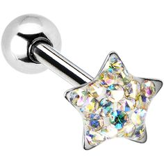 Dome Aurora Star Gem Barbell Tongue Ring | Body Candy Body Jewelry #bodycandy #piercings #tonguering