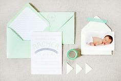 Mint + Gray Birth Announcements by Arbor Corner Studio via Oh So Beautiful Paper (2)