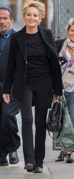 "Sharon Stone arrives at ""Jimmy Kimmel Live"" on Tuesday in Hollywood."