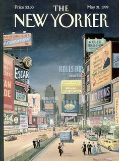 """The New Yorker - Monday, May 31, 1999 - Issue # 3845 - Vol. 75 - N° 13 - Cover """"Lost Times Square"""" by Bruce McCall"""