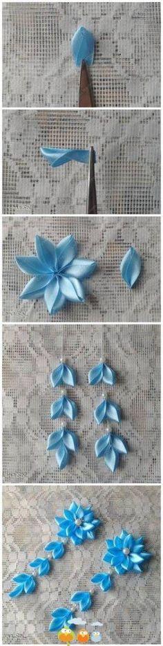 Flor con cintas de razo. kanzashi                                                                                                                                                                                 Más