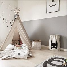 Black, white and grey boys room - simple and stylish❥