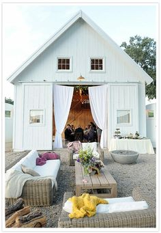 Oh ma GASH what a beautiful party setup. Love the barn interior & the outdoor seating area. If only I had a beautiful white barn like this in my backyard Outdoor Rooms, Outdoor Living, Outdoor Seating, Outdoor Lounge, Indoor Outdoor, Outdoor Furniture, Wicker Furniture, Boho Lounge, Adirondack Furniture