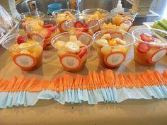 Healthy party food! Great idea to use owl label ego stick to the theme.