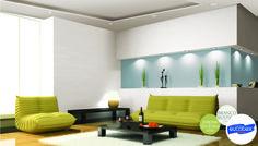 Inspiração de #decoração para #salas. Nome das #cores: Jardim do éden e Branco Rústico - Tintas Eucatex
