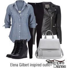 Elena Gilbert inspired outfit/TVD by tvdsarahmichele on Polyvore featuring Silver Jeans Co., MuuBaa, Citizens of Humanity, Forever 21 and Givenchy