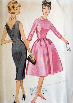 McCALLS 5624 AUDREY HEPBURN STYLE 1960s COCKTAIL EVENING DRESS PATTERN SLIM or FULL SKIRTED, BATEAU NECKLINE, LOW V BACK