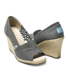 TOMS Ash Canvas Madras Wedge | zulily