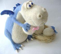 Needle Felted Toy  Blue Dragon by TashaToys on Etsy, $92.00