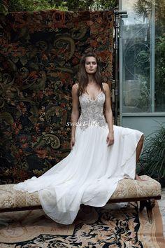 48dec1685695 Lihi Hod 2016 Summer Beach Wedding Dresses Backless Vintage Lace Crystals  Spaghetti Floor Length White Chiffon