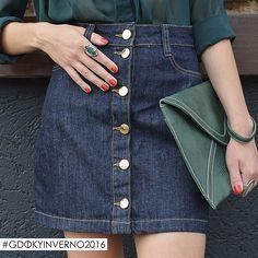 Saia com botões frontais Gdoky Jeans: Estilosa e sofisticada! #retrô #Inverno2016 #Presenteideal