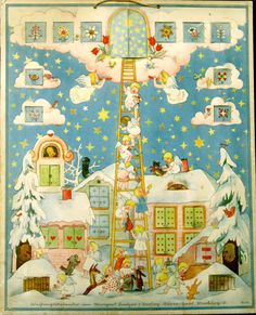 Vintage Advent calendar, by illustrator, Marigarde Bantzer (1905-1999), ca. 1930s. Published by Dürer-Haus Marburg, No. 400