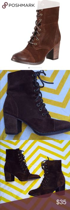 """Steve Madden Gretell Leather Lace Up Boot As seen on Selena Gomez! The rich brown color suede leather on these boots are not done justice in pictures! Round toe, 2"""" heel, lace up front with thick leather laces. Inside zipper. Beautiful distressed look, could be worn with jeans in winter or with dresses in summer. Very comfortable! Great condition, worn handful of times, slight mark as shown in picture, but goes with distressed style of leather. Great quality & will only get better with wear…"""