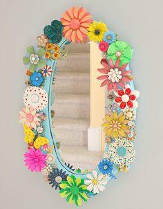 Vintage Enamel Flower Pin Mirror ~ inspiration ..