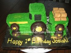 This is my favorite one!!!! Homemade Tractor Cake: My husband sells John Deere Tractors. Since we had a boy after 5 girls, it was a no-brainer to make a tractor cake for our son's 1st b-day. I looked here