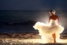 Mexico Destination Wedding Paradisus Esmeralda Riviera Maya gorgeous barefoot bride on the beach.  Mexico wedding photographers Del Sol Photography