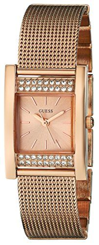 GUESS Womens U0127L3 Timeless Shine Crystal Mesh Rose GoldTone Watch >>> You can get more details by clicking on the image.