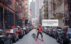 Spiderman gets caught in web of bubblegum on the streets of New York City