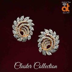 Cluster is the new Choice. #atjewellers #wedjewels #anopchandtilokchandjewellers #Diamond #cluster #earring #clusterearring #diamondearring www.atjewel.com